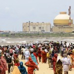 Demonstrators gather near a nuclear power project during a protest in Kudankulam
